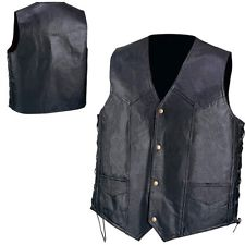 genuine black leather vest pebble grain hand-sewn patchwork biker mens OIGDJTI