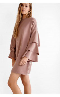 glamorous dresses dusty pink ruffled sleeve jumper dress UPJMTQV