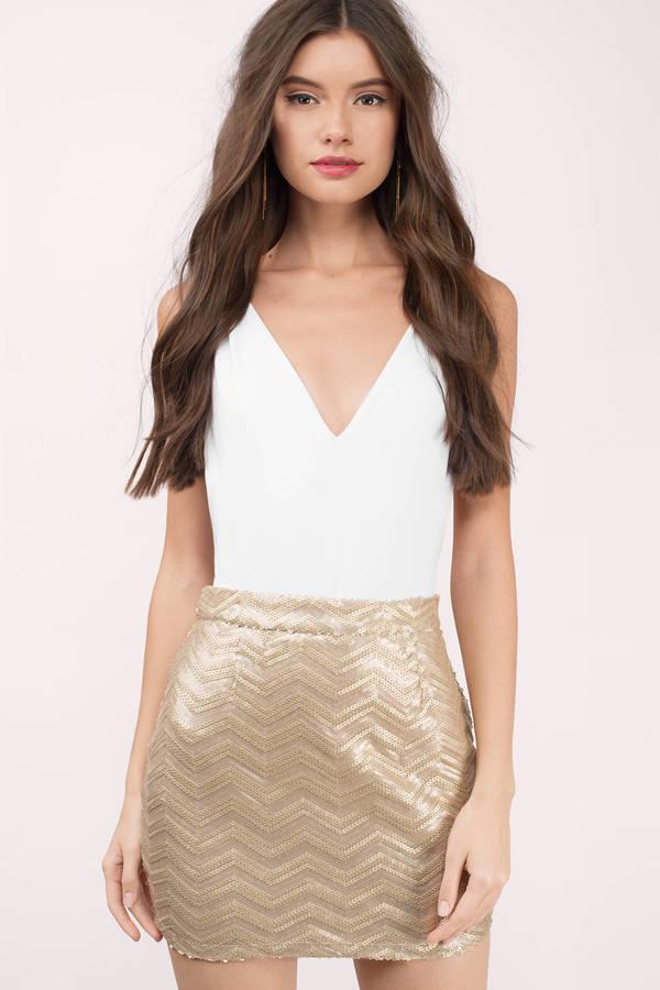 gold sequin skirt final sale XOZNXOW