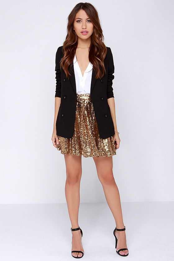 gold sequin skirt HTPDXYC