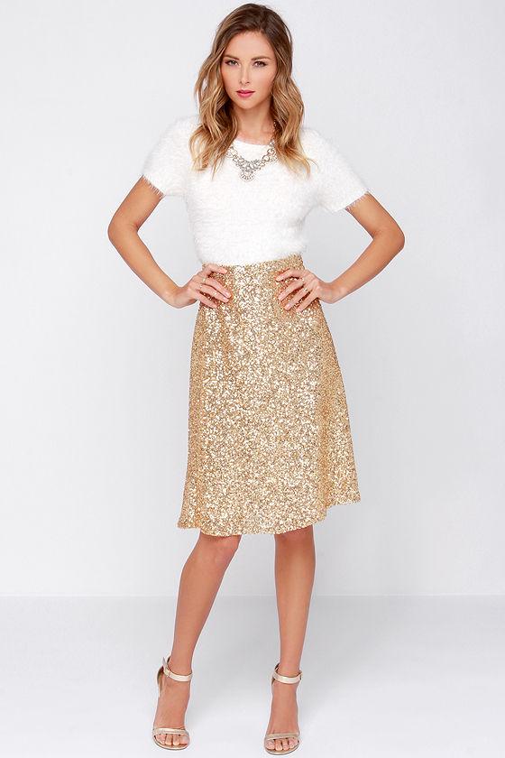 gold sequin skirt pretty gold skirt - sequin midi skirt - high waisted skirt - $38.00 SZVSJHG