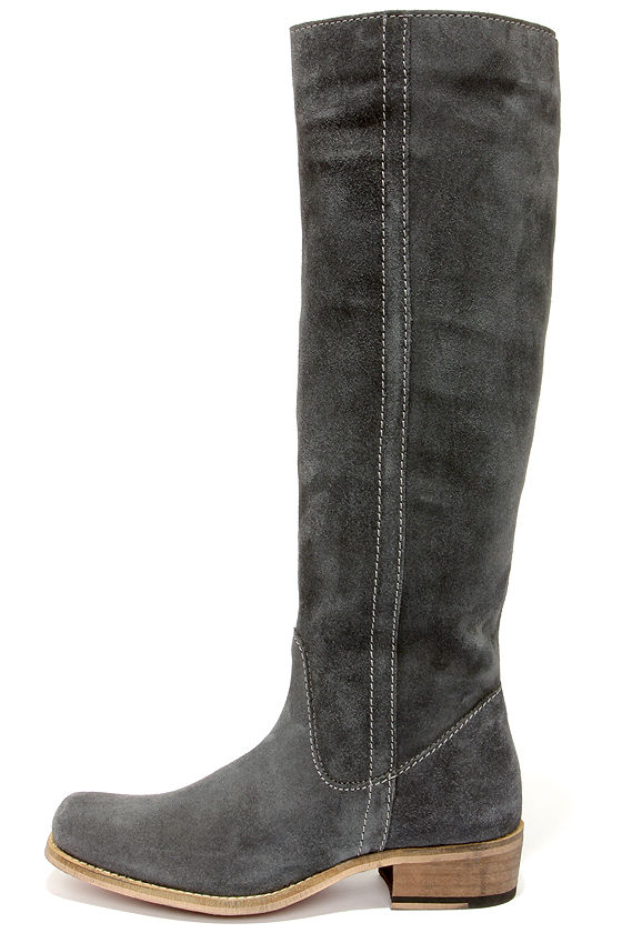 grey suede boots cute grey boots - suede boots - riding boots - $179.00 YFIFWSI