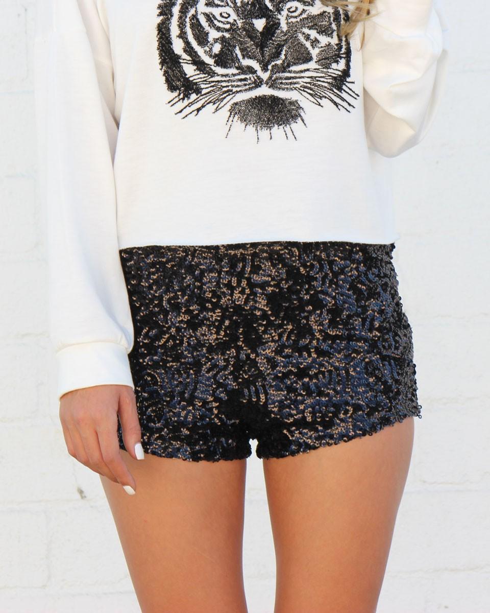 high waist black sequin shorts MELWTER