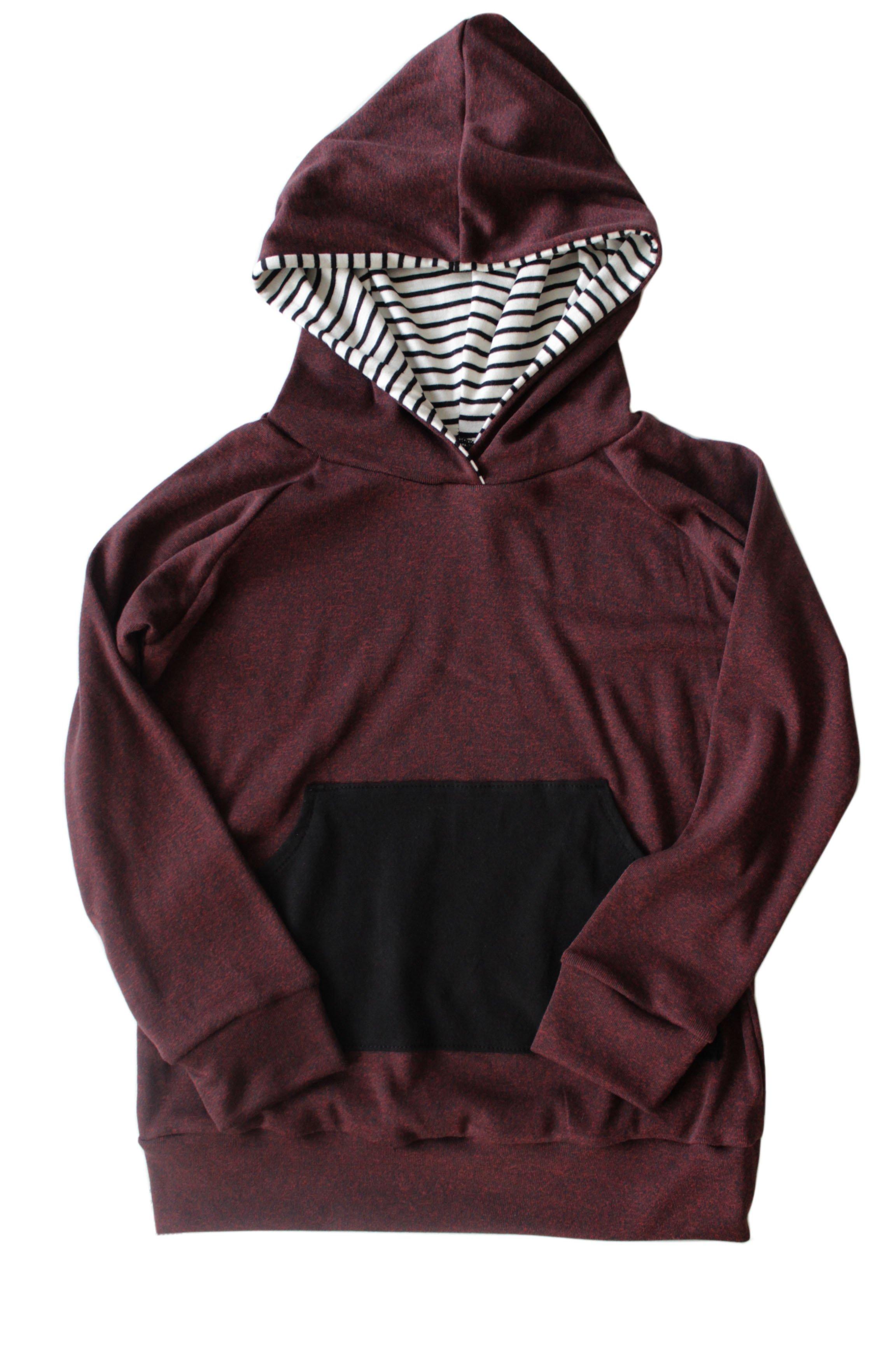 image of striped burgundy hoodie WZURGQV