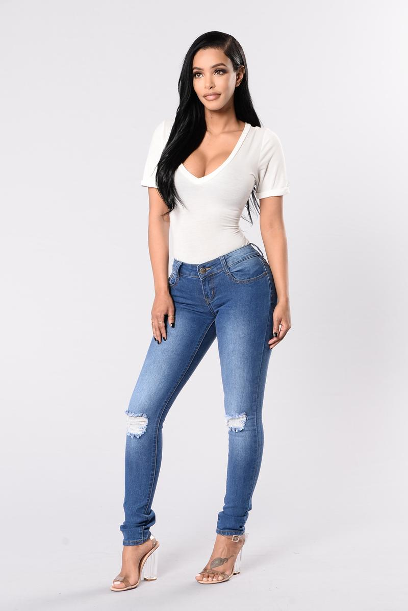 jeans fashion i knee you now jeans - medium wash ABGXJSD