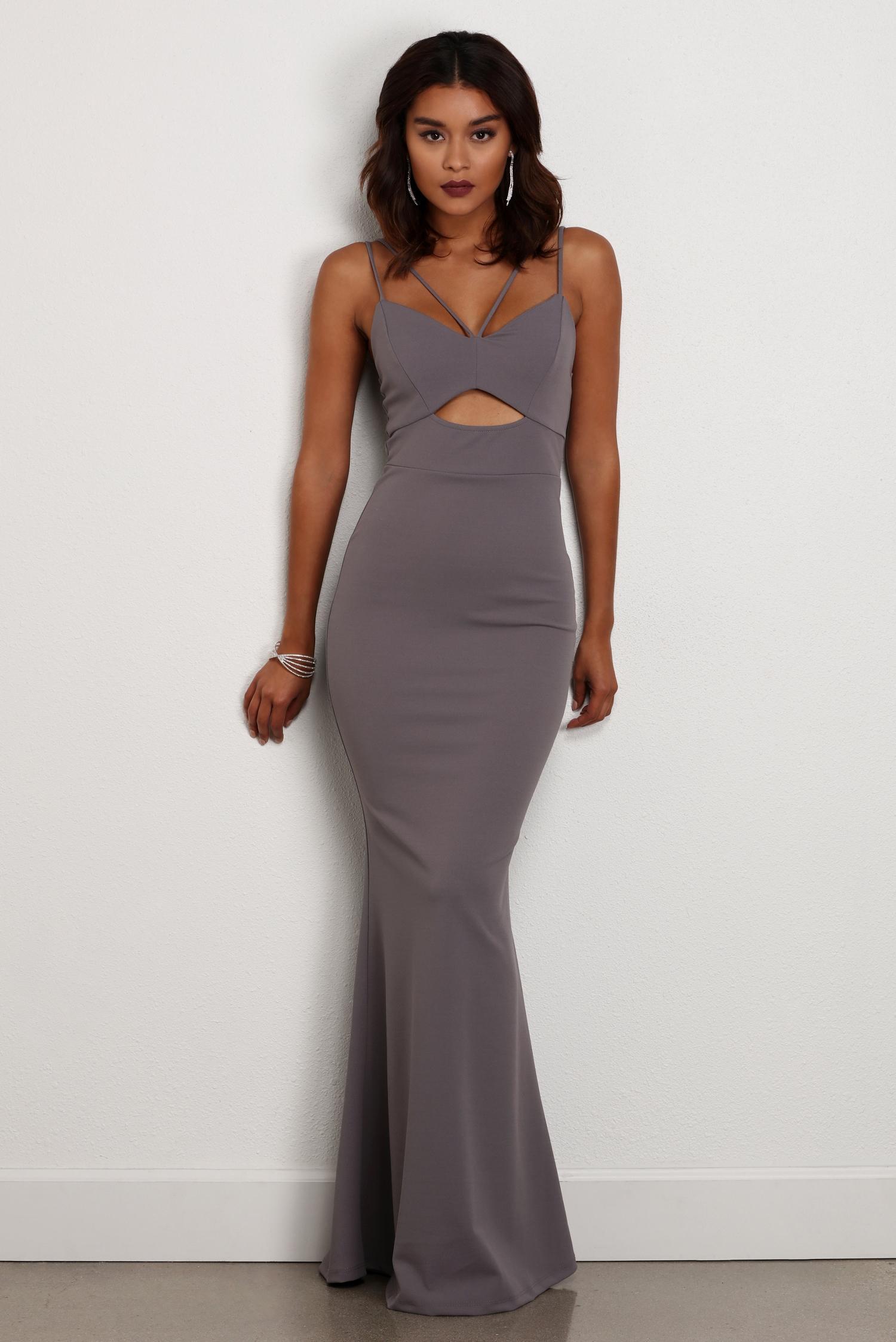 kara gray cut out formal dress COUNCYW