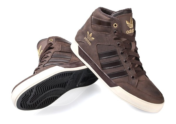 kids adidas hardcourt hi brown leather trainers with fur d67660 WSFMUWE