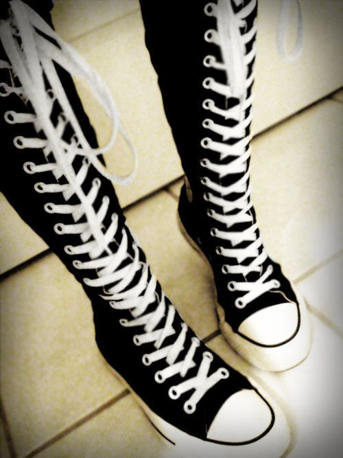 Knee High Converse knee high converse u003c3. my mom would u003c3 u0026 wear these lol love TQSCRLR