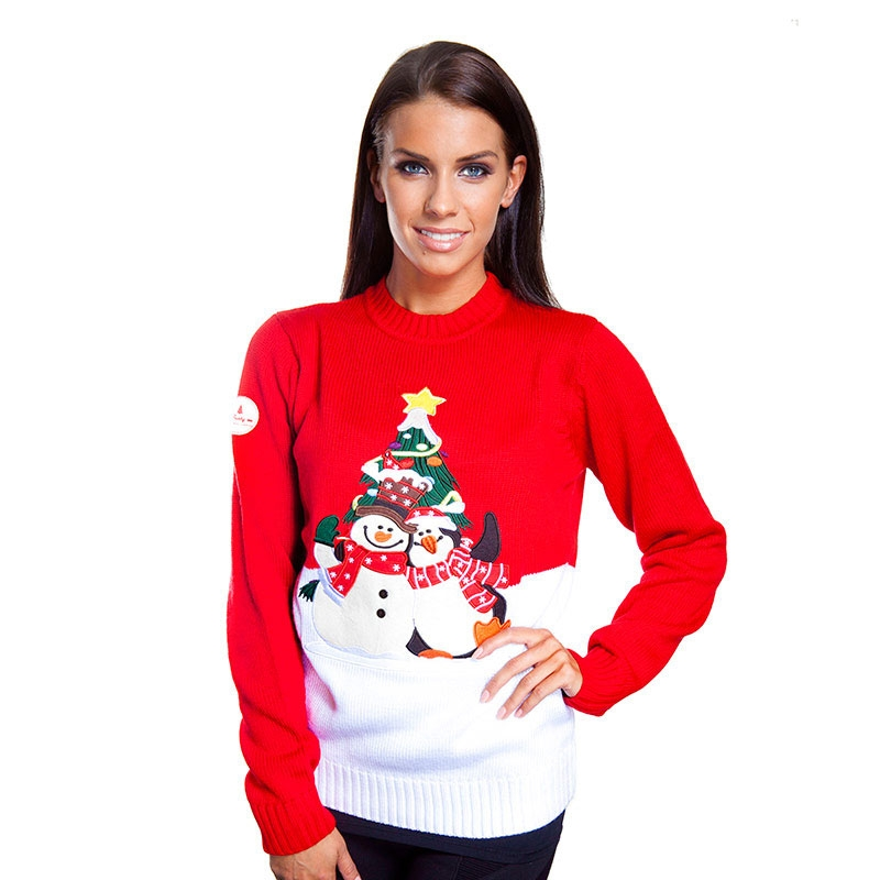 ladies christmas jumpers ... womenu0027s polar pals cheesy christmas jumper ... PYCXLOB