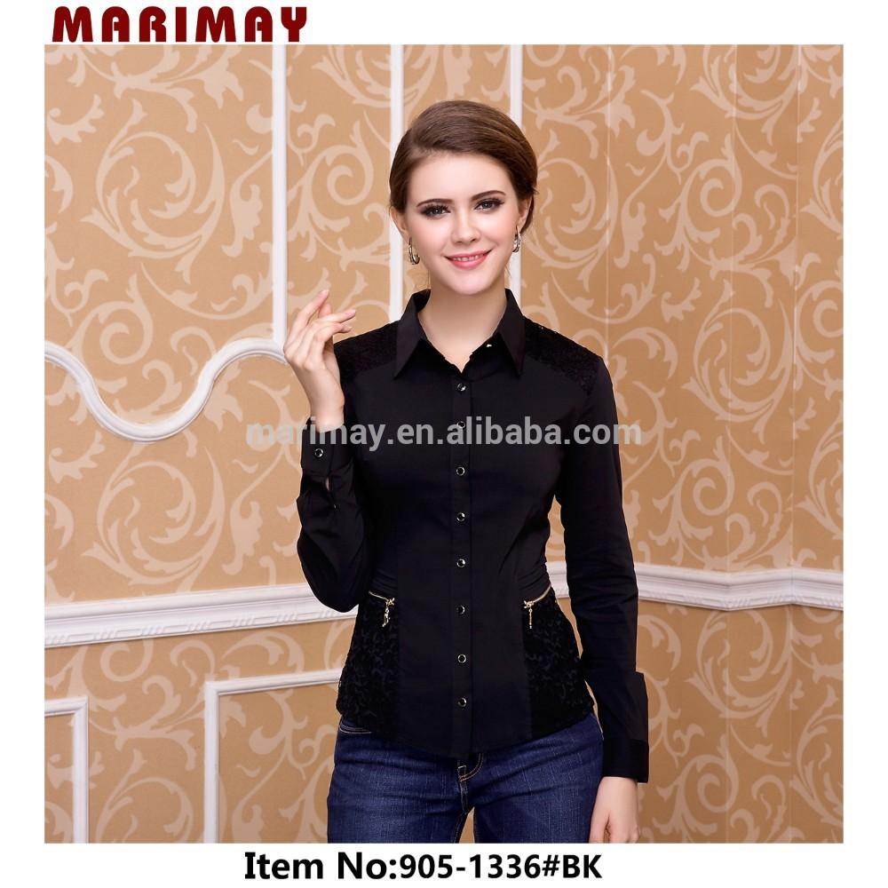 ladies fancy black tops for women,women wear tops with long sleeve,garment  factory - NMIRTAZ