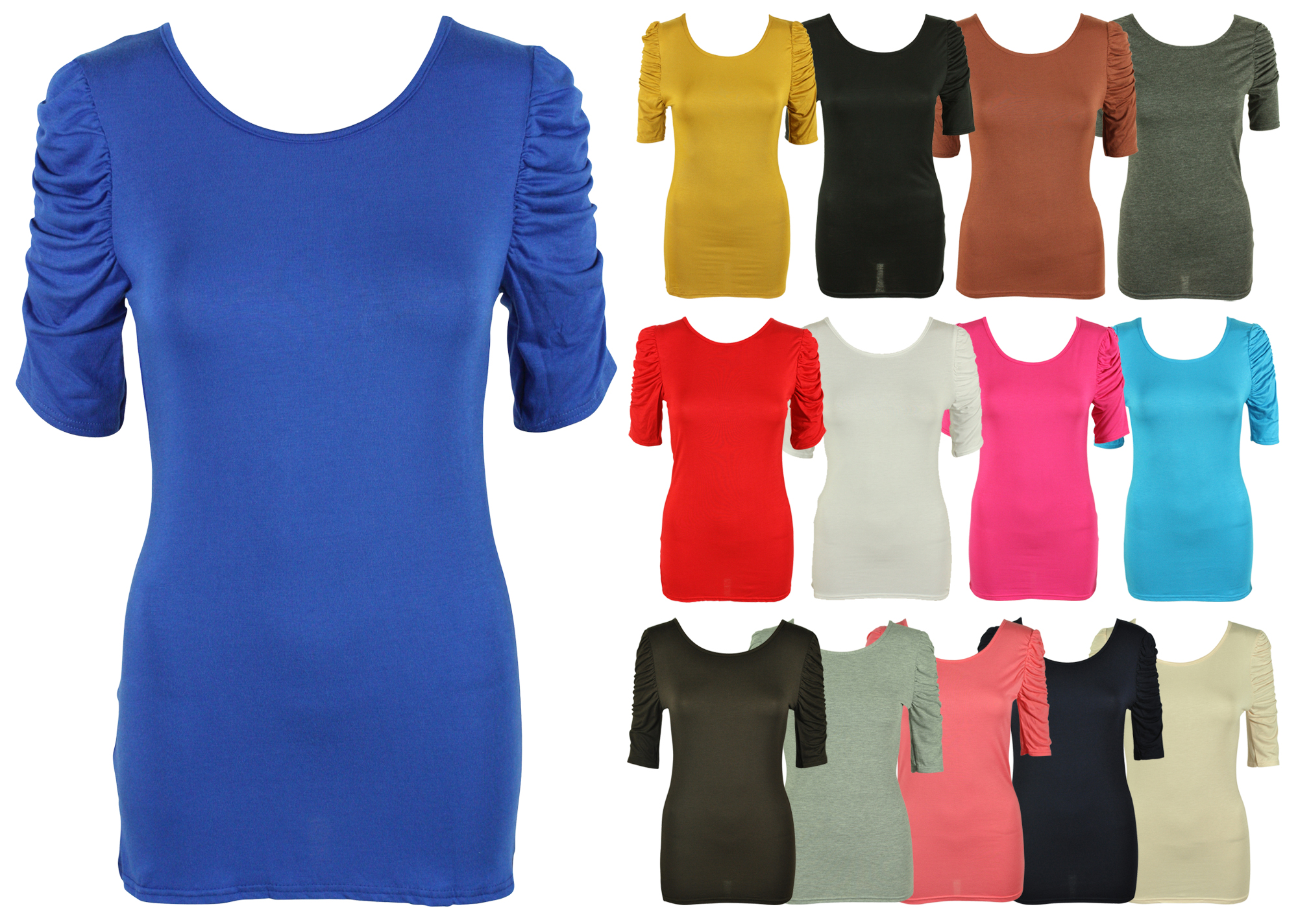 ladies top ladies-new-ruched-gathered-sleeve-t-shirt-womens- XUQYSEJ
