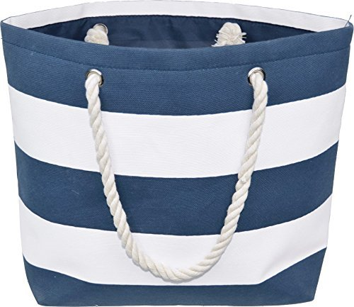 large water resistant canvas striped beach bag - inside lining, zippered  inner pocket SYXHQTW