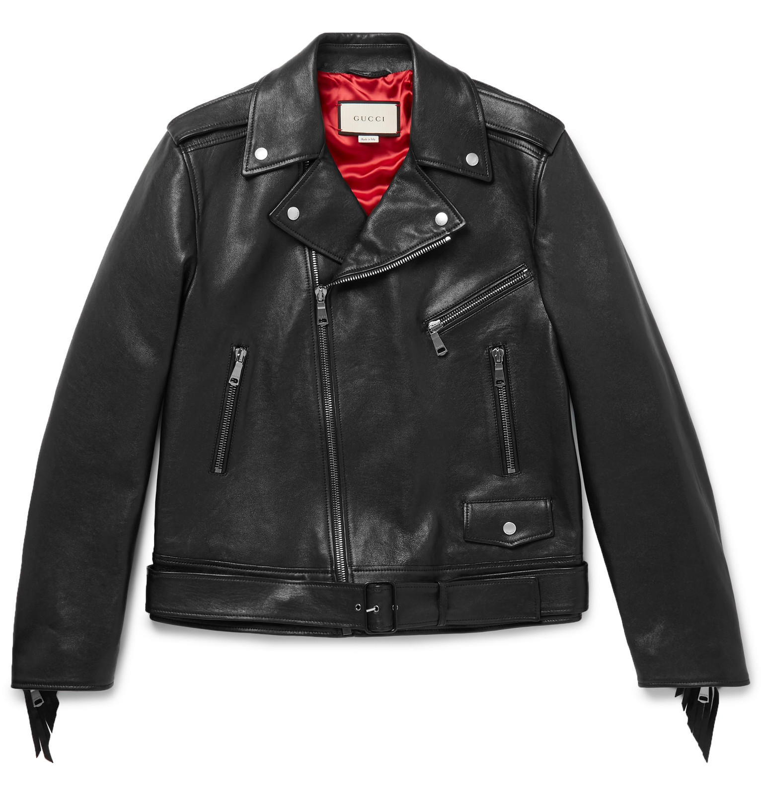 leather jackets gucci - patch-embellished fringed leather biker jacket WRXVSMV