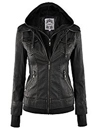 leather jackets mbj womens faux leather motorcycle jacket with hoodie BMJOIWQ