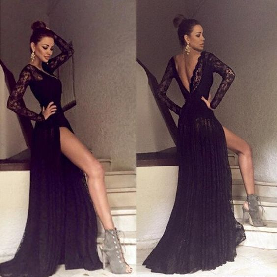 long sleeved prom dresses black long sleeves prom dress, lace LGQAQSN