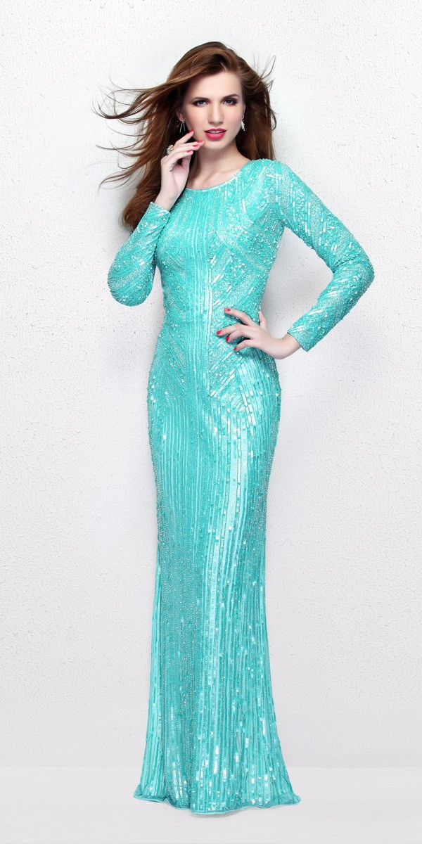 long sleeved prom dresses long sleeve sequin prom dress 1721 - primavera couture - 1721 YCPZBYB