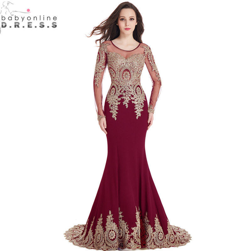 long sleeved prom dresses real image cheap burgundy long sleeve mermaid lace prom dresses 2017 sexy  sheer FDZPAAS