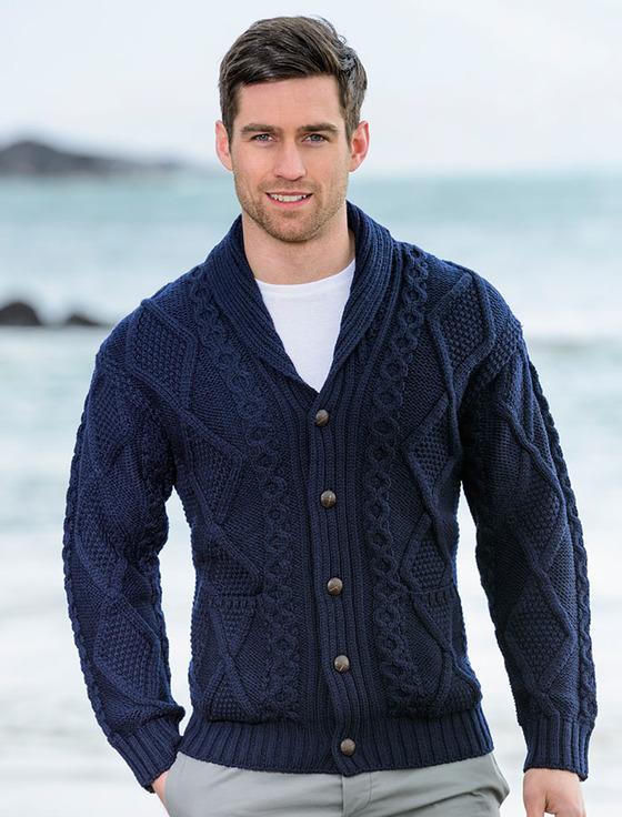 mens cardigan menu0027s shawl neck cardigan - merino wool - navy CEMKBOC
