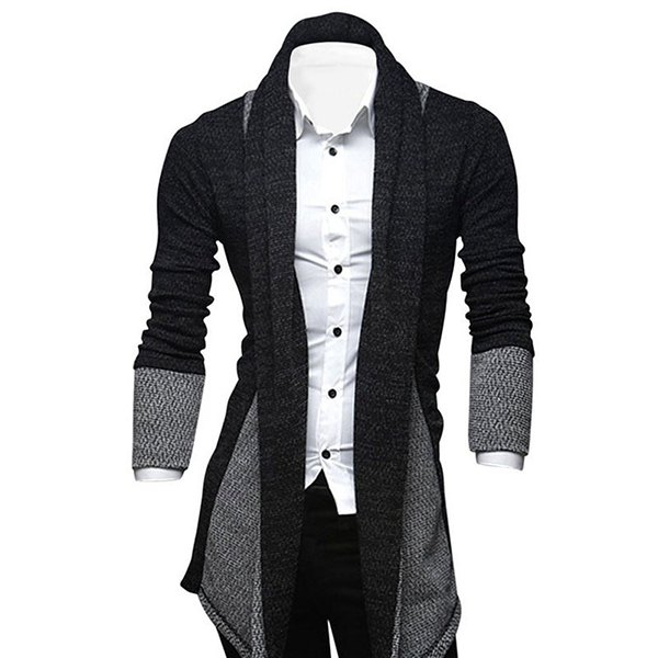 mens cardigan ... turndown collar color block longline cardigan - deep gray l ... UAHFDTL