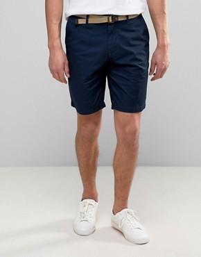 mens chino shorts pullu0026bear smart chino shorts with belt in navy XHEAARN