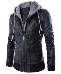 mens jackets faux twinset hooded rib pu leather jacket in black m | sammydress.com KDURNDA