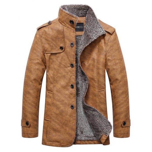 mens jackets stand collar single-breasted epaulet embellished jacket - khaki m OPBUNCS