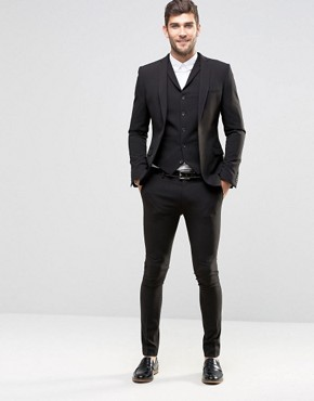 mens suits asos super skinny fit suit in black UCZXRKY