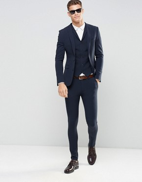 mens suits asos super skinny fit suit in navy UFJZFHY