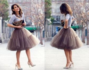 mocha very fluffy full layered petticoat tulle skirt tutu bridesmaid,  wedding, flower girl TZPJMHN