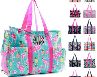 monogrammed large beach bag organizing utility tote diaper personalized  monogram name embroidered seahorse PWFYBGF
