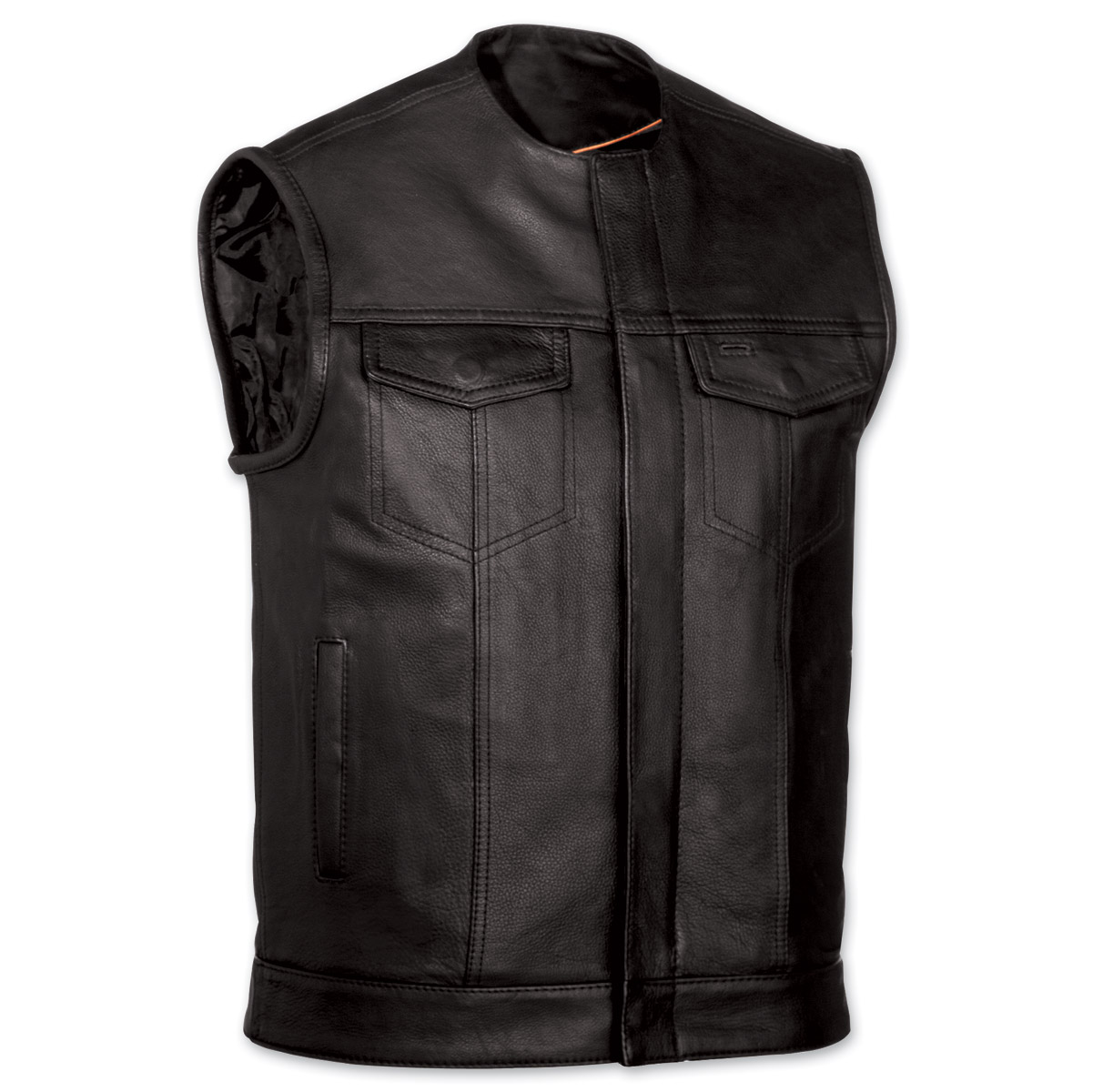 motorcycle vest menu0027s collarless mc black leather vest ZJHGIUV