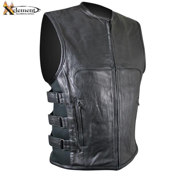 motorcycle vest xelement b95080 menu0027s black advanced triple strap design leather motorcycle  vest - leatherup.com ZEHPYFC