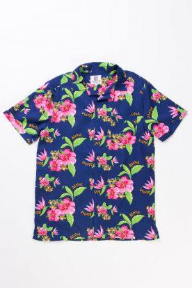 navy aloha hawaiian shirt IKQJZZE