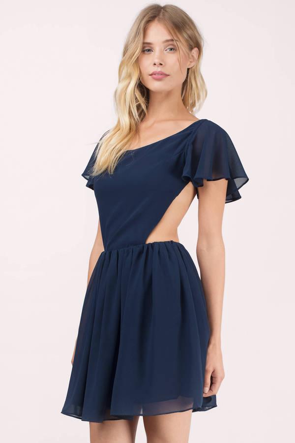 navy blue dress ... twirl and flare navy skater dress ... OSHURSY