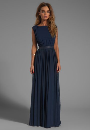 Navy Blue Maxi Dress alice + olivia triss sleeveless maxi dress with leather trim in navy - VFXXODF