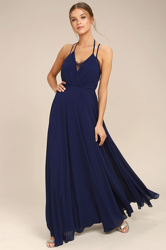 Navy Blue Maxi Dress beautiful navy blue dress - maxi dress - backless maxi dress - $64.00 GUOLFLV