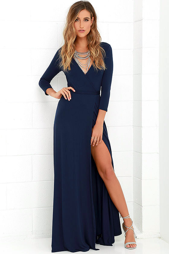 Navy Blue Maxi Dress lovely navy blue maxi dress - wrap dress - wrap maxi dress - $68.00 RGSOMDM