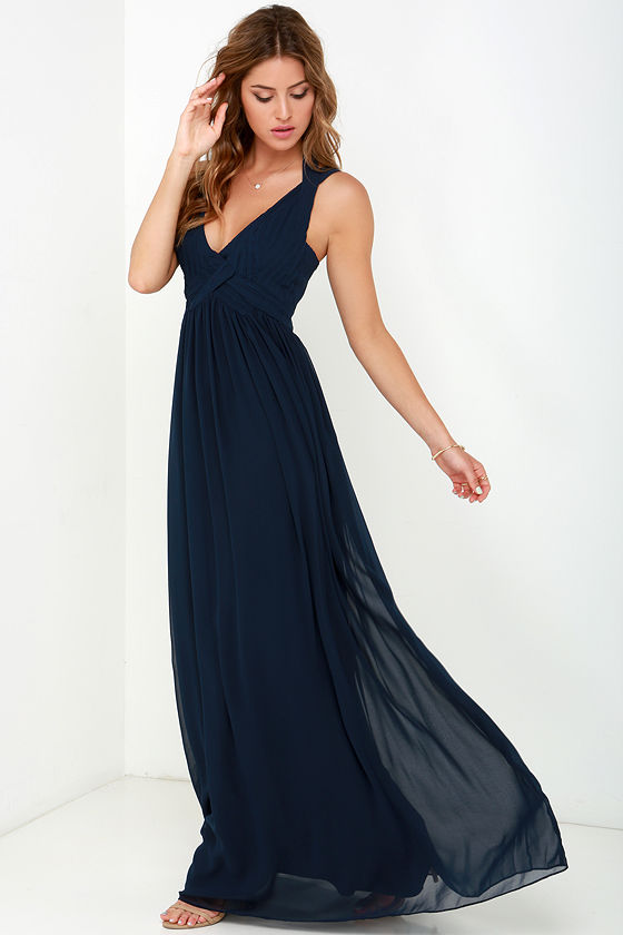 Navy Blue Maxi Dress maxi dress - backless dress - navy blue dress - $88.00 UAYSXSH