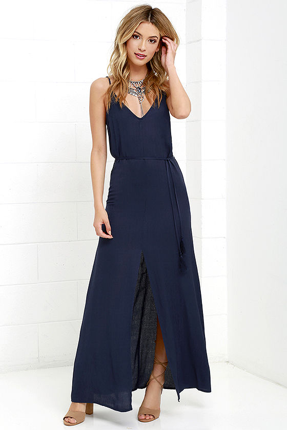 Navy Blue Maxi Dress navy blue dress - maxi dress - sleeveless dress - $52.00 JYBAGBX