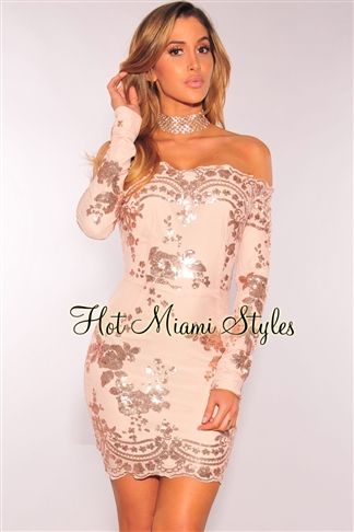 nightclub dresses quick view this product rose gold floral sequins off shoulder dress BFFXVGK