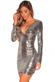 nightclub dresses silver ruched sequin long sleeve nightclub dress VGDWJTO