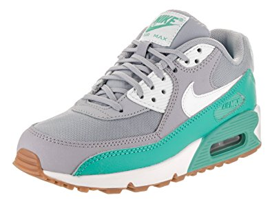 nike-air-max-90-womens nike womenu0027s air max 90 essential wolf grey/barley green running shoe 5.5  women NTQIMYM