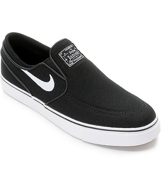 nike sb janoski black u0026 white boys slip-on canvas skate shoes LKIEGOB