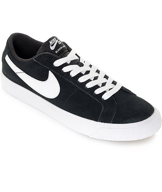 nike skate shoes nike sb blazer zoom black u0026 white suede skate shoes IKMJCMQ