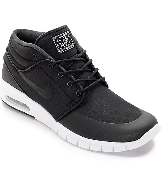 nike skate shoes nike sb janoski air max mid black u0026 white skate shoes KZGAWBW