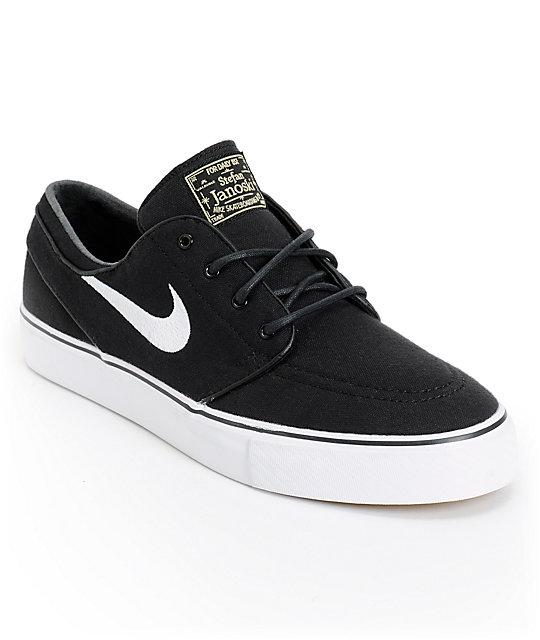nike skate shoes nike sb zoom stefan janoski black u0026 white canvas skate shoes AWMUKNC