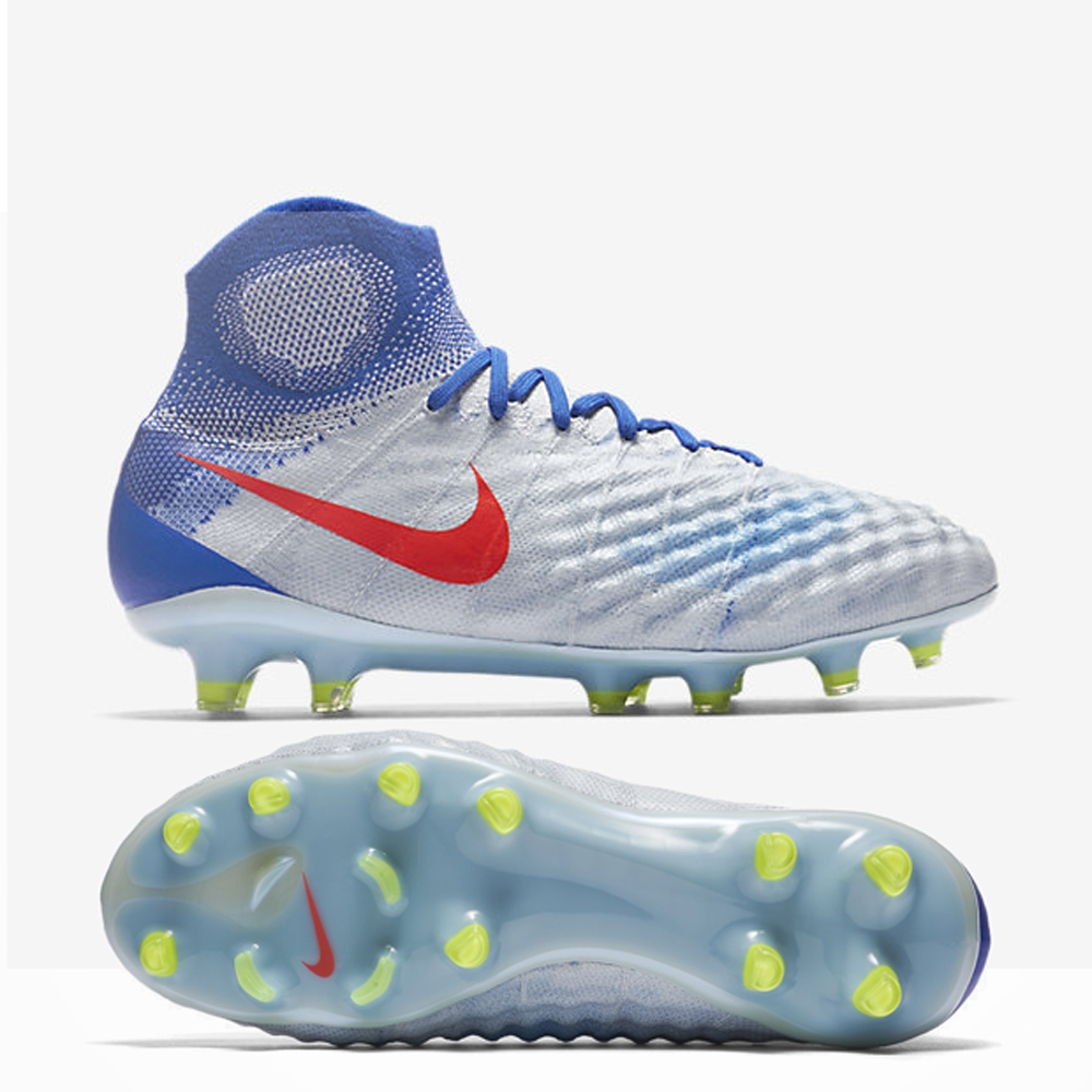 Nike soccer cleats nike womenu0027s magista obra ii fg soccer cleats (pure platinum/bright  crimson/racer blue) NHWUNCQ