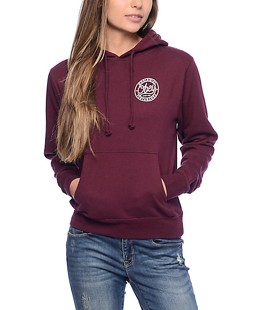 obey since 1989 burgundy hoodie LPQMYLX