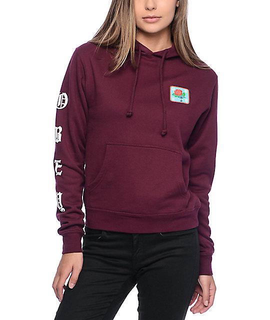 obey spider rose burgundy hoodie PBABPOF