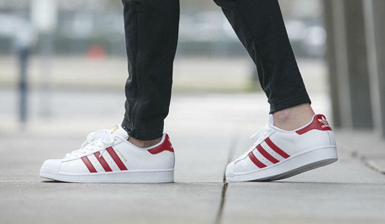 on-feet look at the adidas originals superstar scarlet GWXFYSV